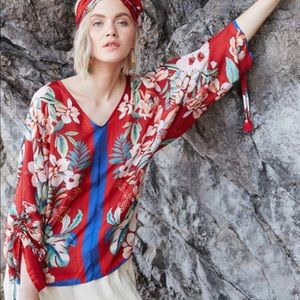 Johnny Was Silk Red  Top. NWT. M